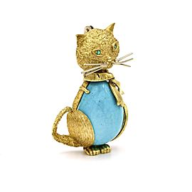 Turquoise Emerald Cat Brooch in 18k Yellow Gold Italian Signed SF