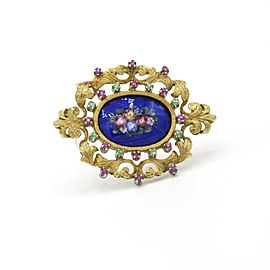 Lapis Lazuli Hand Painted Brooch with Ruby and Emerald in 18k Yellow Gold