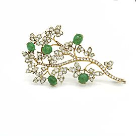 Colombian Emerald and Diamond Branch Brooch in 18k Gold ( 20.00 ct tw )