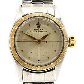 ROLEX Oyster Perpetual 25mm Steel & Yellow Gold Silver Dial Ladies Watch c 1960