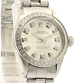 Ladies ROLEX Oyster Perpetual 25mm SHINY SILVER Dial Diamond Stainless Steel