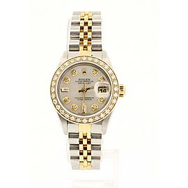 Ladies ROLEX Oyster Perpetual Gold & Steel Datejust 26mm WHITE MOP Dial Diamond