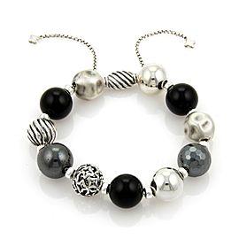 David Yurman Elements Black Onyx & Hematite Sterling Silver Large Bead Bracelet