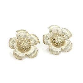 Tiffany & Co. Large Dogwood Flower Sterling Silver Clip On Earrings