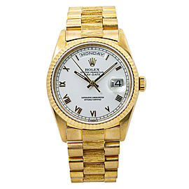 Rolex Day-date 18238 Bark 18K Yellow Gold Mens Automatic Watch 36MM with Papers