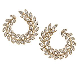 Designer Signed Laurel Wreath Diamond Leaf Earrings in 18k Rose Gold
