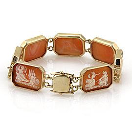 Estate 14k Rose Gold Shell Cameo Carved Octagon Link Bracelet