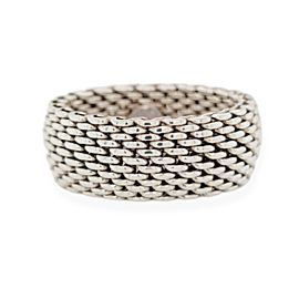 Authentic Tiffany & Co. 925 Sterling Silver Smoerest Mesh Band Ring Size 10.5