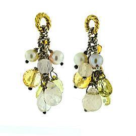 David Yurman Two Tone Multi-Gemstone Drop Earrings