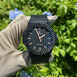 Hublot 511.cq.1790.vr.plp16 Classic Fusion 45mm Ceramic Carbon Bezel Men's Watch