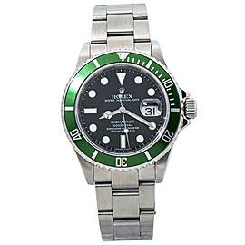 Rolex 16610LV Submariner Date Rehaut Kermit 2008 M Serial Stainless Watch 40mm