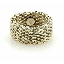Tiffany & Co. Somerset Sterling Silver 10mm Wide Flex Mesh Band Ring