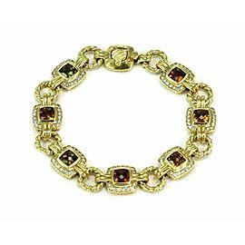 David Yurman Albion 1.12ct Diamond & Cushion Citrine 18k Yellow Gold Bracelet