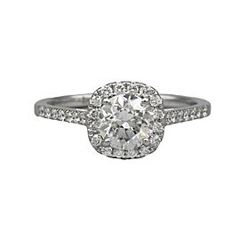GIA Certified Round Diamond Halo Engagement in 18k White Gold