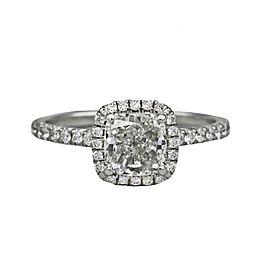 1.50 Ct GIA Cushion Diamond Halo Engagement Ring in 14k White Gold