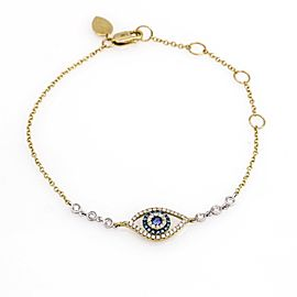 Meira T Diamond and Blue Sapphire Evil Eye Bracelet in 14K Yellow Gold