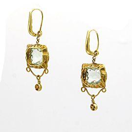 Meira T Diamond and Prasiolite Dangle Earings in 14k Yellow Gold