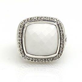 David Yurman 14mm Agate Diamond Albion Ring in Sterling Silver
