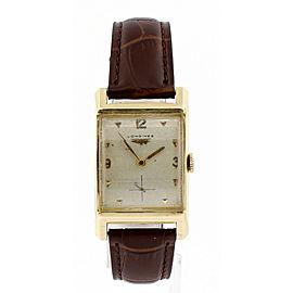 Vintage Longines 14k Yellow Gold Curved Hand Wind Rectangular Men's Watch