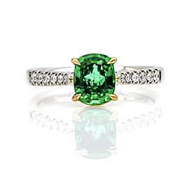 1.21 ct Emerald and Diamond Ring in 18k White and Yellow Gold