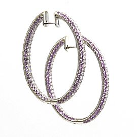 Pink Sapphire and Diamond Inside-Out Oval Hoop Earrings in 18k White Gold