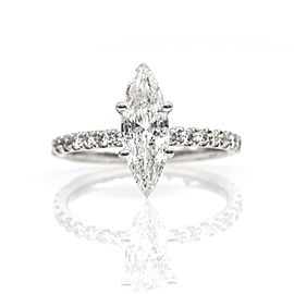 1.10 ct Marquise Diamond Modern Solitaire Engagement Ring in 18k White Gold