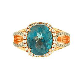 Levian 14k Rose Gold Oval Blue Topaz Diamond Ring