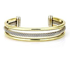 David Yurman 3-Row 18k Yellow Gold Sterling Silver Cable Classics Cuff Bracelet