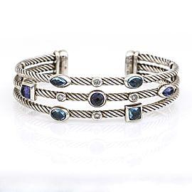 David Yurman Confetti Bangle Bracelet Diamond Topaz Amethyst Sterling Silver
