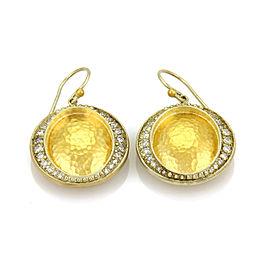 Gurhan Cosmo Diamond 24k & 14k Gold Oval Hammered Hook Dangle Earrings