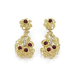 Diamonds & Rubies 18k Gold Wire Circle Dangle Earrings