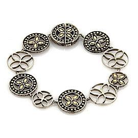 John Hardy Kawung 18k & Sterling Silver Round Link Floral Bracelet