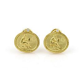 Siedengang Diamond 18k Yellow Gold Muse Post Clip Earrings