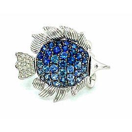 Sapphire & Diamond 14k White Gold Movable Fish Ring