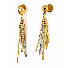 Roberto Coin Elephant Skin Diamond dangle 18k Two Tone Gold Earrings