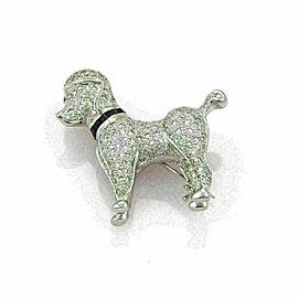Stunning 1.62ct Diamond & Sapphire 18k White Gold Poodle Dog Brooch Pin