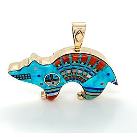 Classic Turquoise Coral Opal Inlay 14k Yellow Gold Bear Pendant