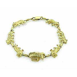 Noah's Arc & Animals 14k Yellow Gold Link Bracelet