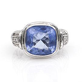 Judith Ripka Blue Gemstone Diamond Statement Ring in 18k White Gold