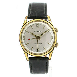 BENRUS Wristalarm Gold Plated Hand Winding 34mm Vintage Watch