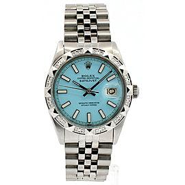 ROLEX Oyster Perpetual DateJust 36mm AQUA luminescent Dial Steel Diamond Watch