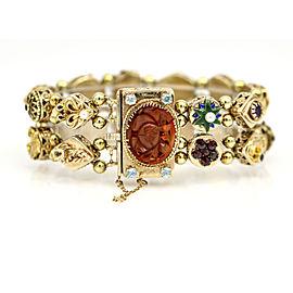 Vintage Double Slide Charm Bracelet in 14k Yellow Gold