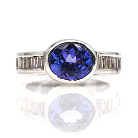2.00 ct Oval Tanzanite and Diamond Ring in 18k White Gold