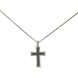 David Yurman Sterling Silver Black Diamond Chevron Cross Necklace