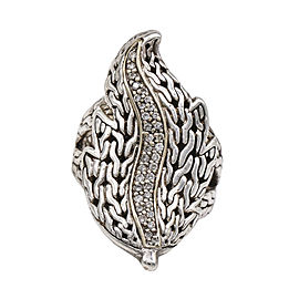 John Hardy Diamond Classic Chain Ayu Leaf Ring Sterling Silver 18k Gold