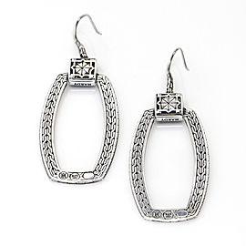 John Hard Door Knocker Black Sapphire Dangle Hook Earrings in Sterling Silver
