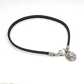Judith Ripka Black Woven Leather Cord Diamond Necklace with Charm 18k White Gold