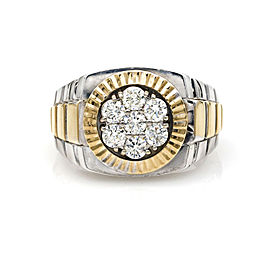 Men's Diamond President Statement RIng in 14k White and Yellow Gold