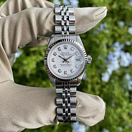 Rolex 69174 Datejust 26mm Stainless Steel White Diamond Dial Ladies Watch
