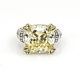 Judith Ripka Yellow Quartz Diamond Statement Ring 18k Gold Sterling Silver